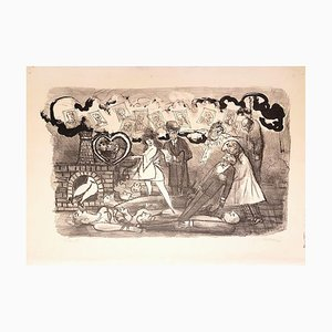 Funeral Love - Original Lithograph by Mino Maccari - 1967 1967