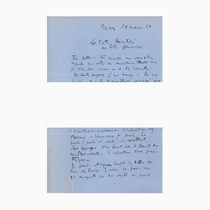Original Signed Letter by André Masson - 1950 - Surrealism 1950