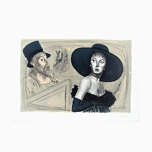 The Painter and the Model - Original Lithograph by Mario Russo - 1988 1988