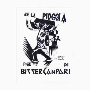 Se La Pioggia Fosse Di Bitter Campari - Dibujo original de la tinta después de F. Depero, finales del siglo XX
