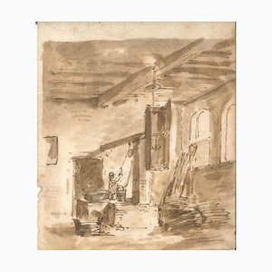 Interior of a House - Original Ink and Watercolor Drawing Early 19th Century
