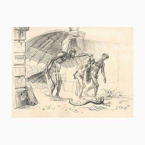 Vertreibung aus dem Paradies - Original Tuschezeichnung von Lac Man Frühes 20. Jahrhundert