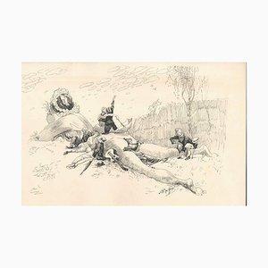 Satyrischer Weiblicher Akt - Originales Tintenzeichnung von Lac Man Frühes 20. Jahrhundert