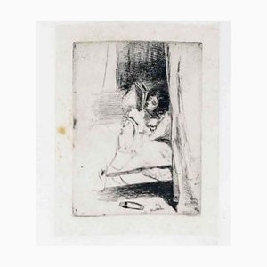 Reading in Bed - Original Etching by J.A.M. Whistler - 1858 1858