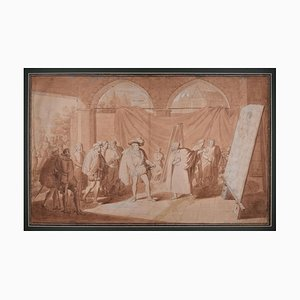 Francesco I and Titian in the Painter's Studio - Original Drawing 1824 1824