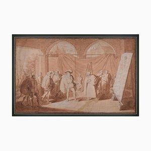 Francesco I. und Tizian im Atelier des Malers - Original Zeichnung 1824 1824