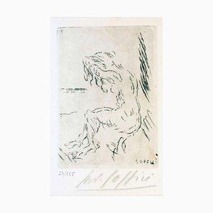 Nude on the Beach - Original Radierung und Kaltnadel von A. Soffici - 1957 1957