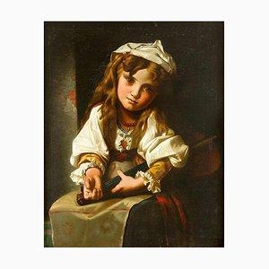 Niño con violín - Óleo sobre lienzo original, siglo XIX