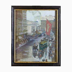 New York - Early 20th Century Fifth Avenue - Original Watercolor Early 1900 Early 1900
