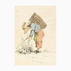 The Ragman - Original Ink Drawing and Watercolor von JJ Grandville um 1845