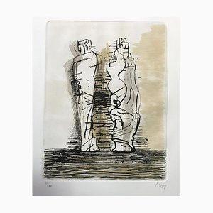 Two Draped Standing Figures - Etching by Henry Moore - 1973 1973