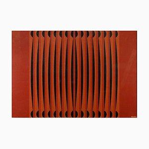 Composition Rouge Géométrique - Huile sur Toile par Dordevic Miodrag 1970s