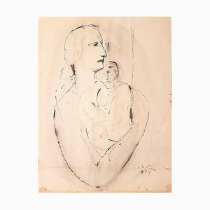 Woman with Baby - Original Ink Drawing by Aurelio De Felice - 1959 1959