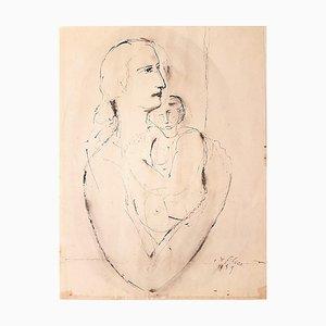 Woman with Baby - Original Tuschezeichnung von Aurelio De Felice - 1959 1959
