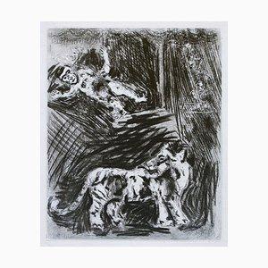Grabado El mono y el tigre - Original de Marc Chagall - 1952 1952