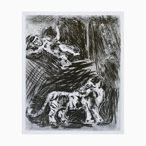 The Monkey and the Tiger - Original Etching by Marc Chagall - 1952 1952