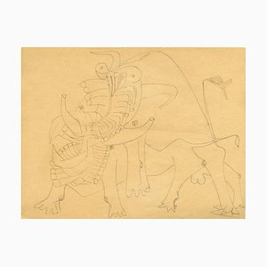 Untitled - Important and Original Drawing by Wifredo Lam - Ink and Pencil - 1941 1941