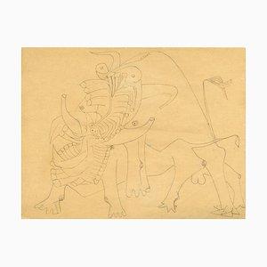 Untitled - Important and Original Zeichnung von Wifredo Lam - Ink and Pencil - 1941 1941