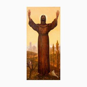 Saint Francis - Original Öl auf Karton von Pippi Starace - Erste Hälfte des 20. Jahrhunderts Mitte 1900