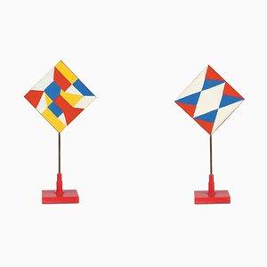 Rot-blaue Dreiecke - Temperas auf Holz von Giacomo Balla - 1930er Jahre