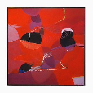 Red Composition - Oil on Canvas by Marcello Avenali - 1970s 1970s