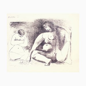 Lithographie Originale par Deux Femmes Accroupies par Pablo Picasso - 1956 1956