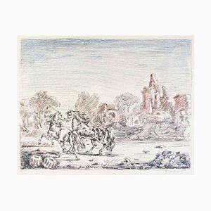 Cavalli e Rovine (Pferde und Ruinen) - Original Lithographie von Giorgio De Chirico 1954
