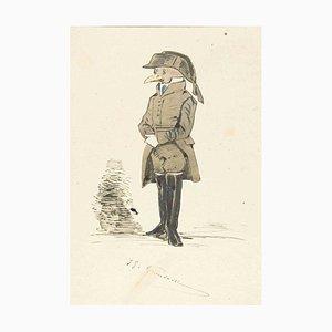 The Gendarme - Original Ink Drawing and Watercolor by J.J. Grandville 1845 ca.