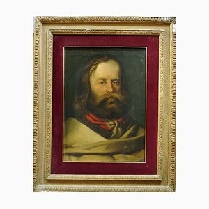 Portrait of Young Giuseppe Garibaldi - Original Oil on Canvas 19th Century 19th Century