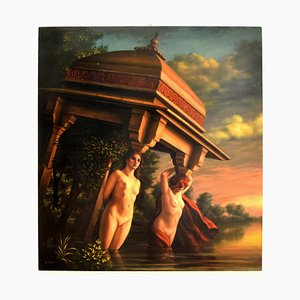 Living Caryatids - Original Oil Painting by Marco Rossati - 1985 ca. 1985 ca.