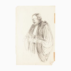 Lawyer - Original Pencil Drawing - Mid 20th Century Mid 20th Century