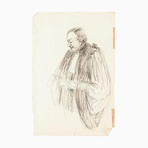 Rechtsanwalt - Original Bleistiftzeichnung - Mitte des 20. Jahrhunderts Mitte des 20. Jahrhunderts
