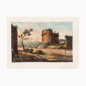 Tomb of Caecilia Metella - Original Hand Watercolored Etching - 19th Century 19th Century