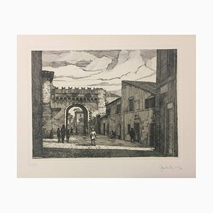 Lungara Street - Rome - Original Etching by G. Malandrino - 1970s 1970s