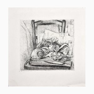 Still Life on a Chair - Original Etching by Marco Bellagamba - 1969 1969