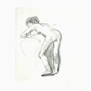Nude - Original Charcoal and Watercolor Drawing - Mid 20th Century Mid 20th Century