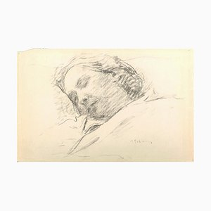 Sleeping Woman - Original Charcoal Drawing by Serge Fontinsky - 1940s 1940s