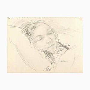 Sleeping Girl - Charcoal Drawing and watercolor by S. Fontinsky - 1940s 1940s