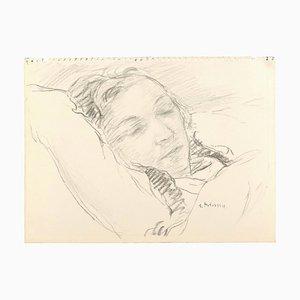 Sleeping Girl - Charcoal Zeichnung und Aquarell von S. Fontinsky - 1940er 1940er
