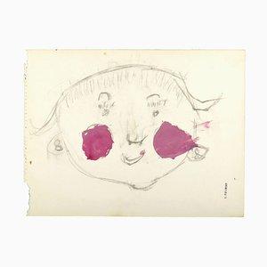Portrait de Jeune Fille - Kohlezeichnung und Aquarell von S. Fontinsky - 1940er 1940er