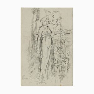 Eden - Original pencil drawing by Max Théron - Early 1900 Early 20th Century