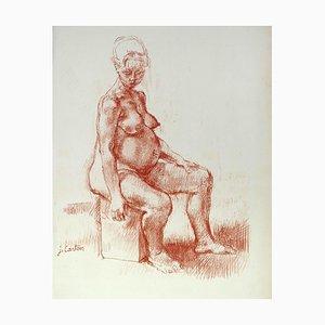 Schwangerschaft - Original Sanguine Zeichnung von Jean Carton - Mitte des 20. Jahrhunderts Mitte des 20. Jahrhunderts