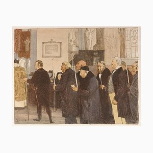 Les Marguillers - Original Lithograph by L- J. Simon in the Early 20th Century Early 20th Century