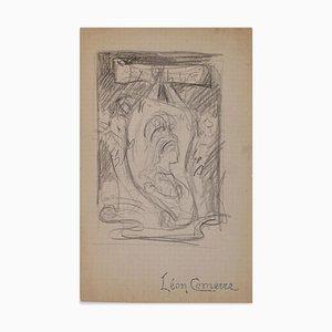 Study for Ex-Libris - Original Bleistiftzeichnung von F. Comerre - Spätes 19. Jh. Ende 19. Jh