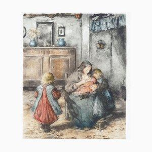 La Tétée de la Mère et ses Enfants - Original Etching by F. Charlet - Early 1900 Early 1900
