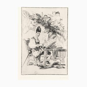 Don Quichote - Original Etching, Aquatint and Drypoint by F. Braquemond - 1860 1860