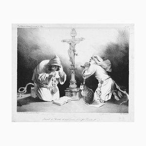 Quand le Diable devient vieux il se fai hermite- Lithographie von H. Daumier - 1835 1835