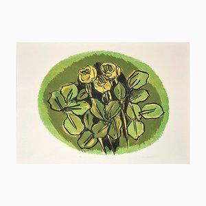 Rose verdi - Litografia originale di Ennio Morlotti - anni '80