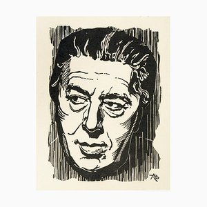Porträt von André Breton - Original Holzschnitt - frühes 1900 frühes 20. Jahrhundert