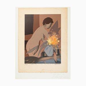 Femme au Bouquet - Lithograph on Paper by A. Defossez - Mid 20th Century 1950s